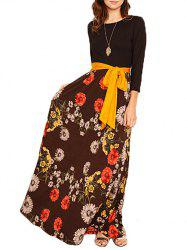 Floral Printed Maxi Dress with Belt -
