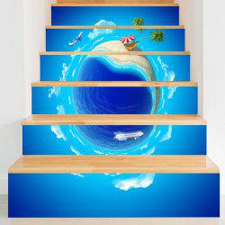 Été Vacances 3D Planet Printed Stair Stickers -