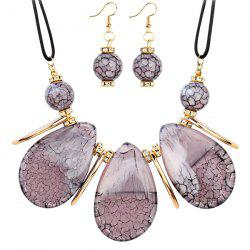 Rhinestone Teardrop Beads Necklace with Earrings -