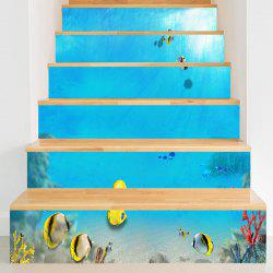 Undersea Fishes Pattern Stair Riser Stickers -