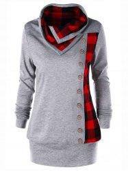 Plus Size Cowl Neck Plaid Sweatshirt - Heather Gray - Xl