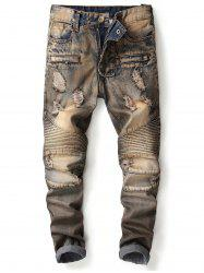 Accordion Pleat Straight Leg Vintage Ripped Jeans -