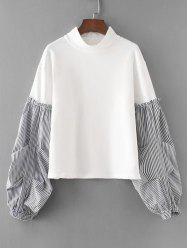 Stripes Panel Lantern Sleeve Sweatshirt -