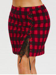Lace Up High Waist Plus Size Tartan Skirt -