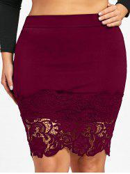 Plus Size Lace Hem Fitted Skirt -