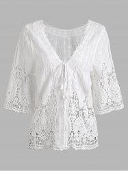 Hollow Out Short Crochet Blouse -