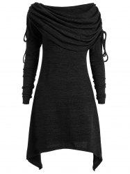 Plus Size Foldover Collar Ruched Tunic Top -