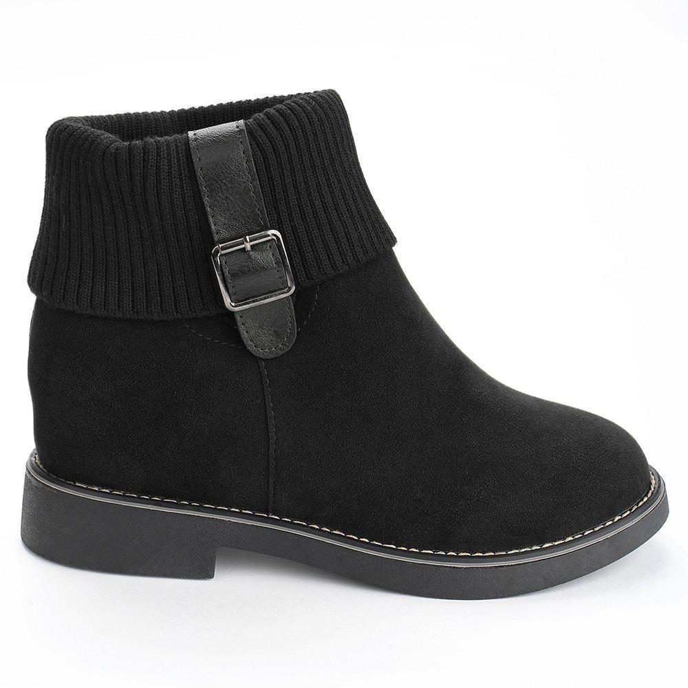 Outfit Flat Heel Buckle Strap Sweater Ankle Boots
