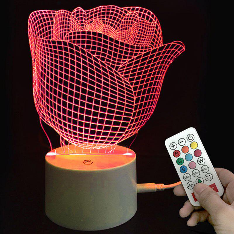 Cheap Valentine Rose Pattern Color-changing Love Confession Gift Remote Control Night Light