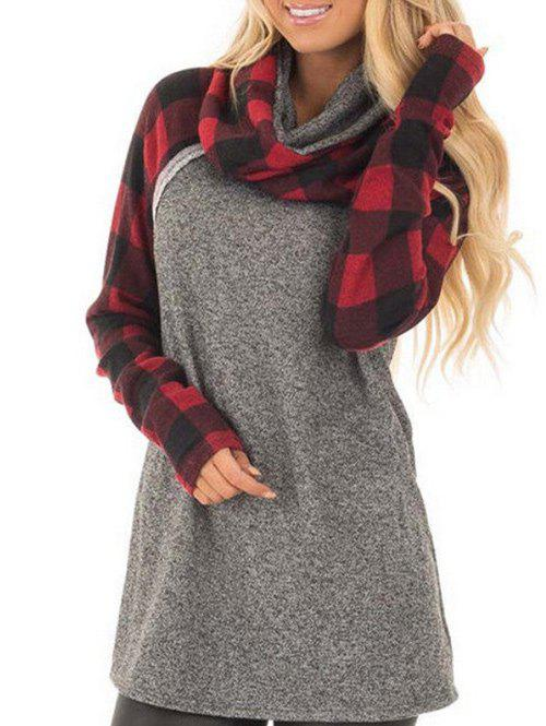 Unique Plaid Sleeve Cowl Neck Sweatshirt