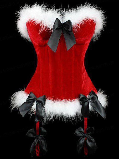 Outfits Christmas Velvet Corset Top with Faux Fur Hem
