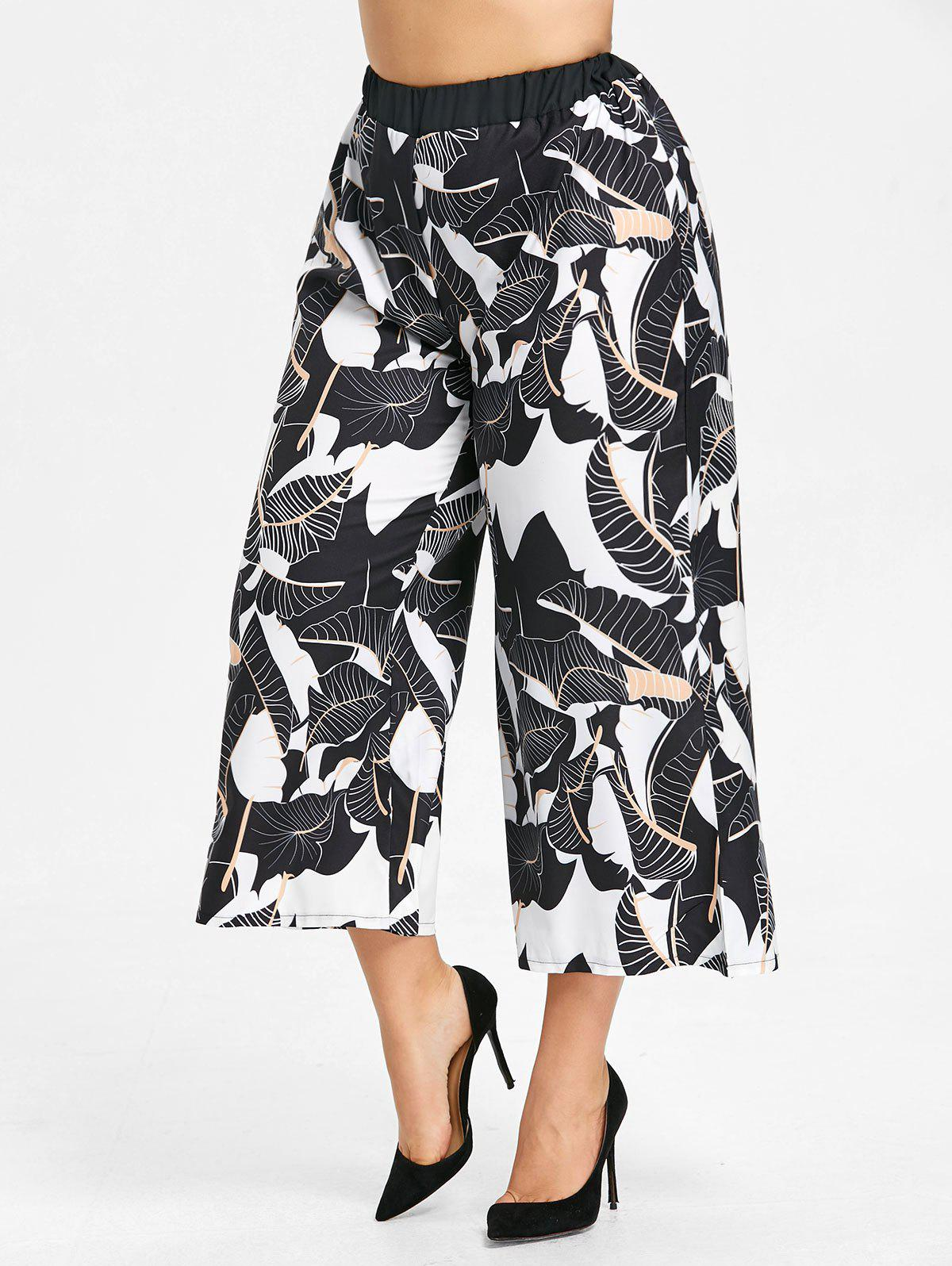 Trendy Plus Size Leaf Print Wide Leg Palazzo Pants