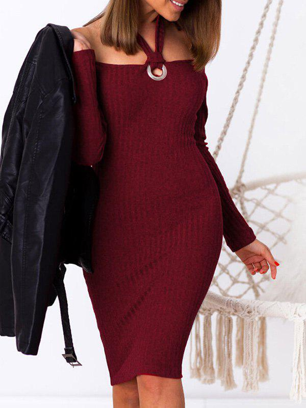 Latest Halter Ribbed Bodycon Sweater Dress