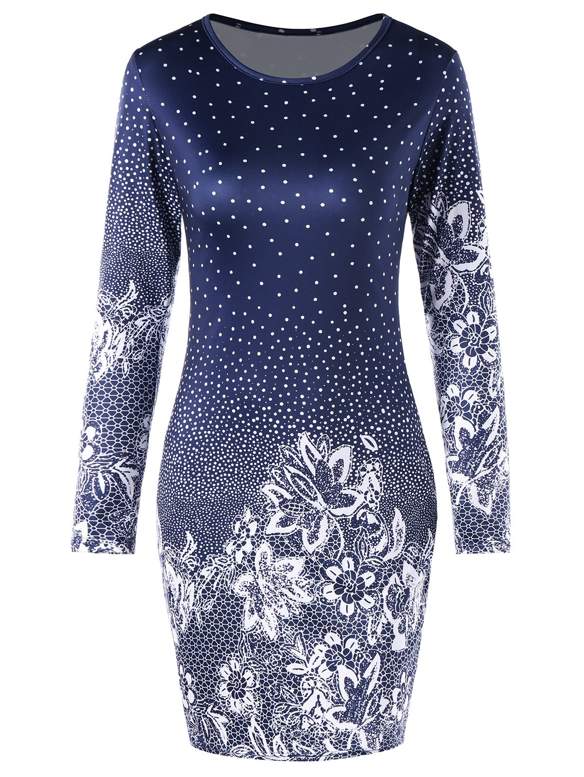 Affordable Floral Polka Dot Bodycon Dress