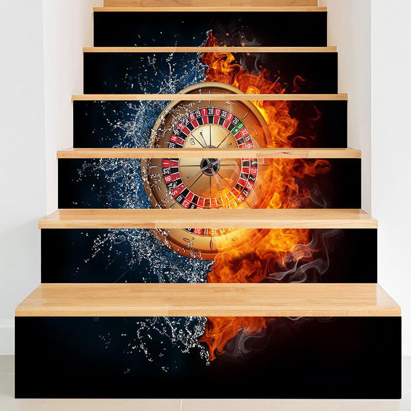 Trendy Water Fire Roulette Pattern Novelty Stair Stickers