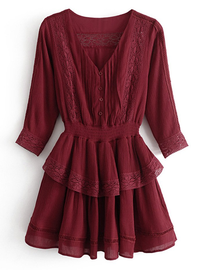 New Lace Trim Ruffles Mini Dress