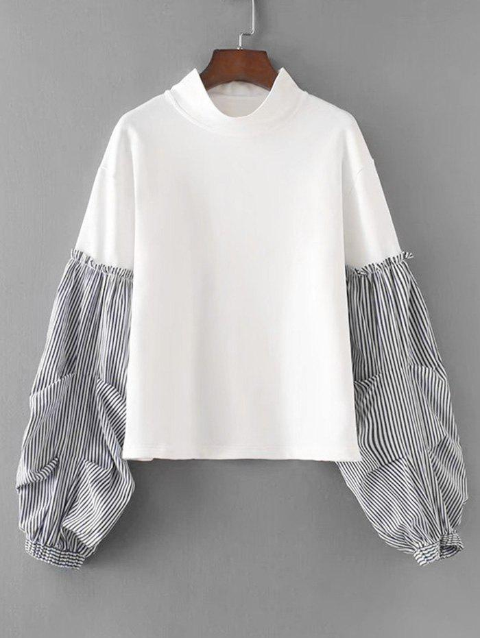 Sale Stripes Panel Lantern Sleeve Sweatshirt