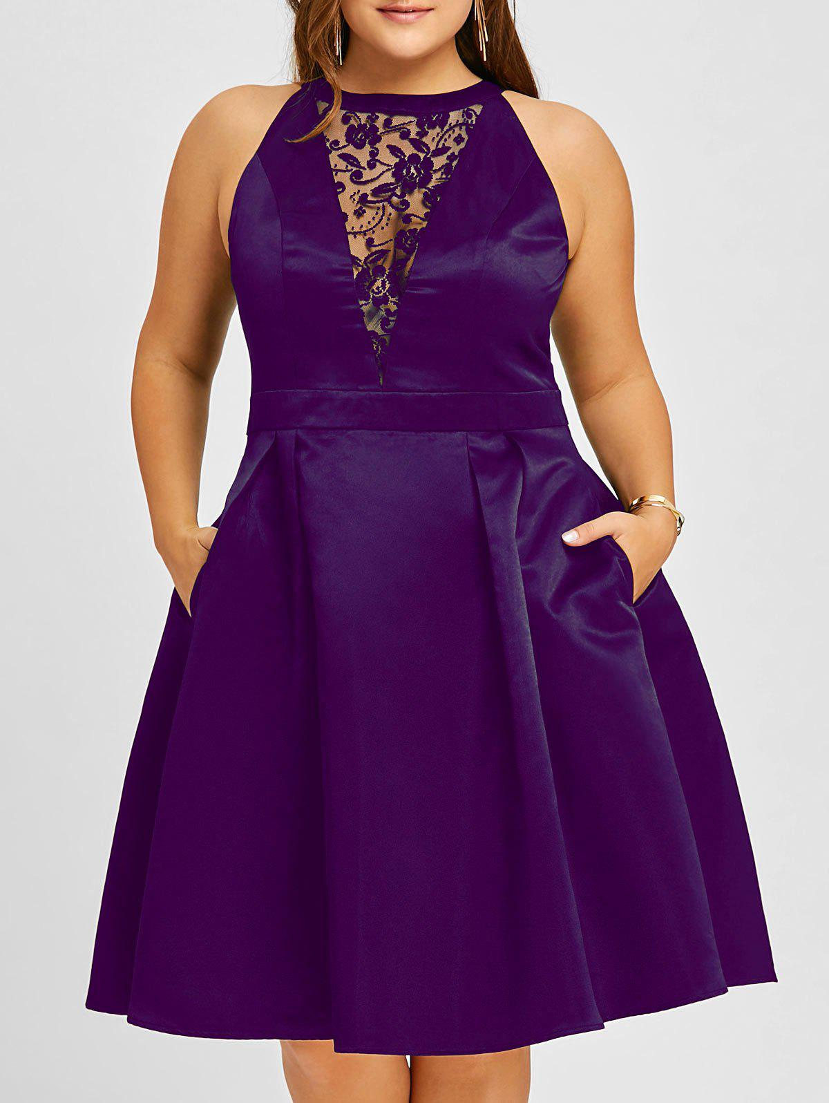 Store Plus Size Semi Cocktail Lace Insert Swing Dress