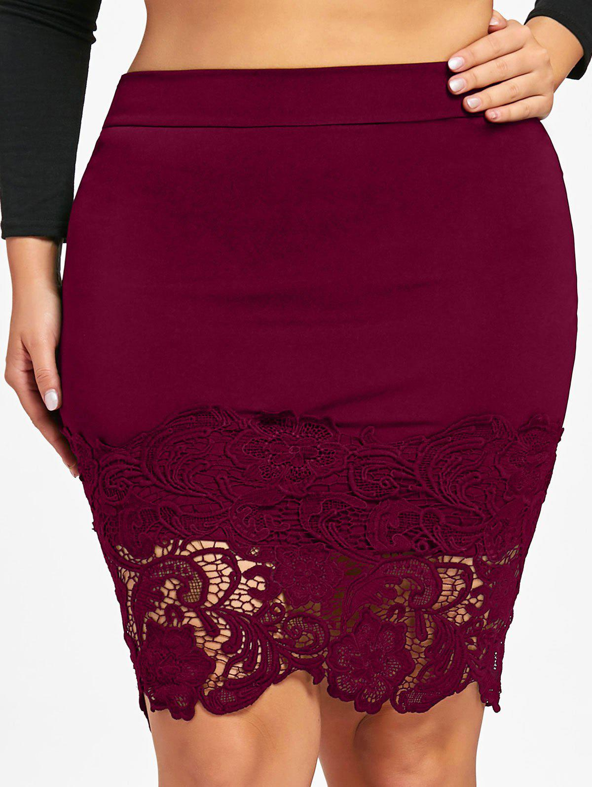 Fancy Plus Size Lace Hem Fitted Skirt