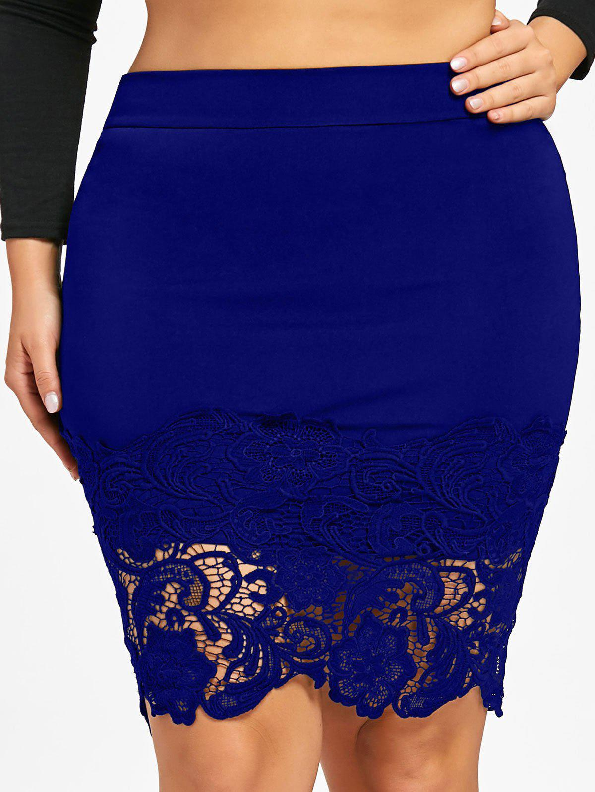 Latest Plus Size Lace Hem Fitted Skirt