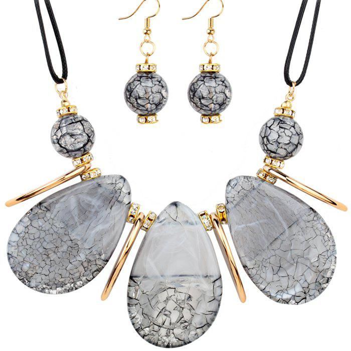 Buy Rhinestone Teardrop Beads Necklace with Earrings
