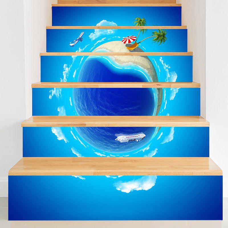 Été Vacances 3D Planet Printed Stair Stickers