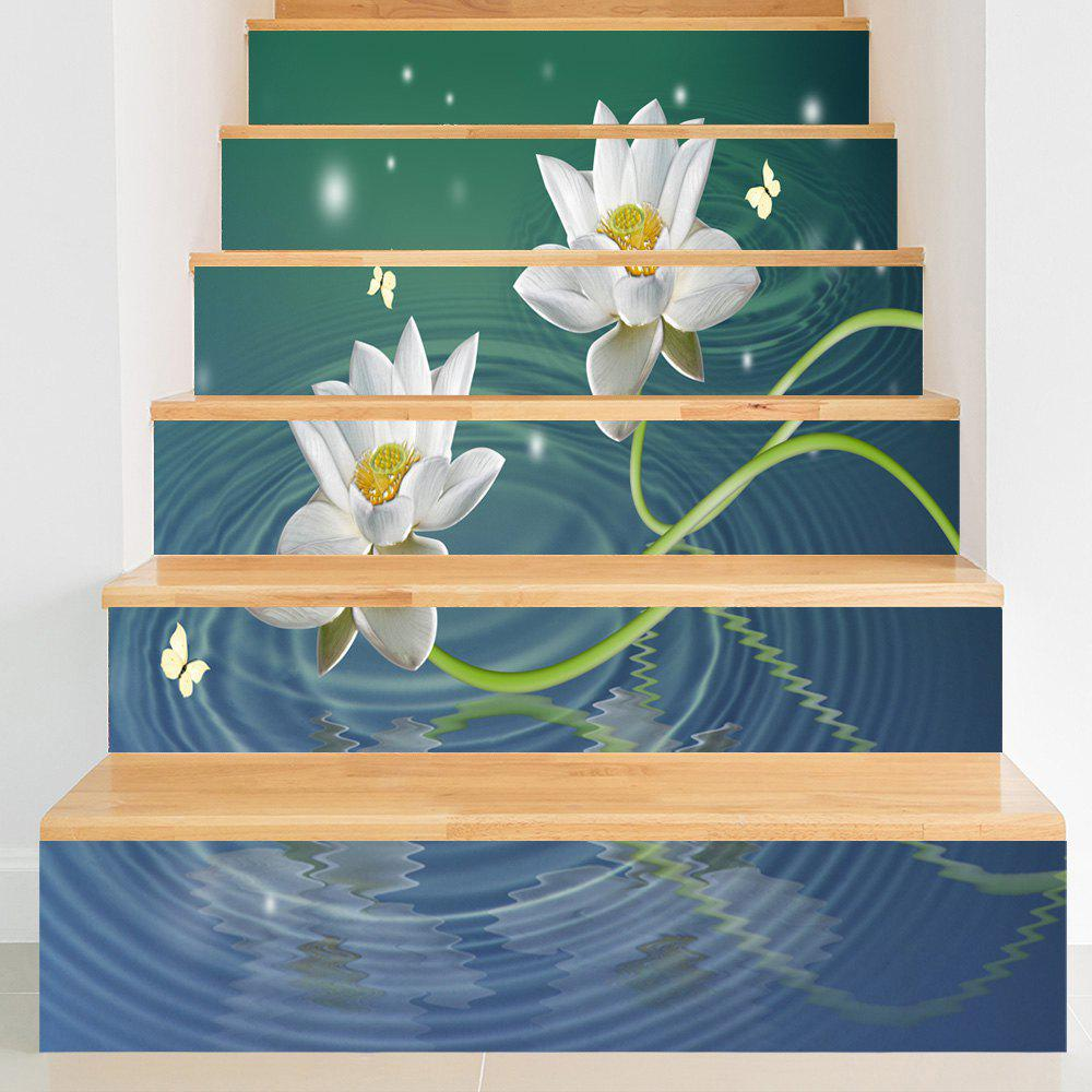 Cheap Lotus Butterflies Water Patterned Stair Stickers