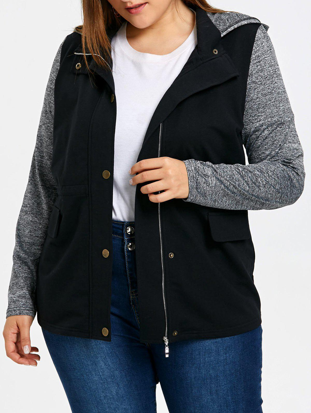 Chic Plus Size Hooded Drawstring Jacket