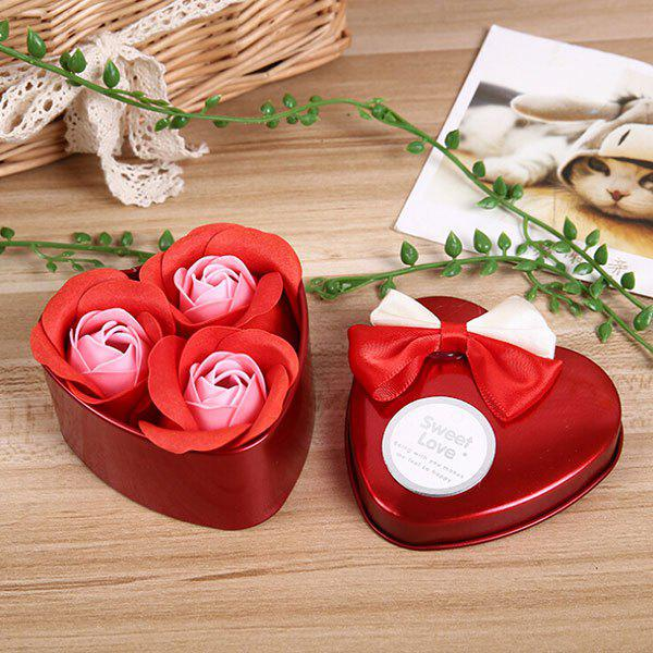 Latest 3Pcs Valentine Gift Confessions of Love Artificial Roses With Iron Box