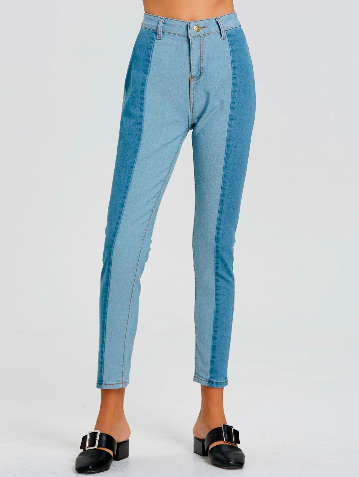 Unique Color Block Striped Pencil Jeans
