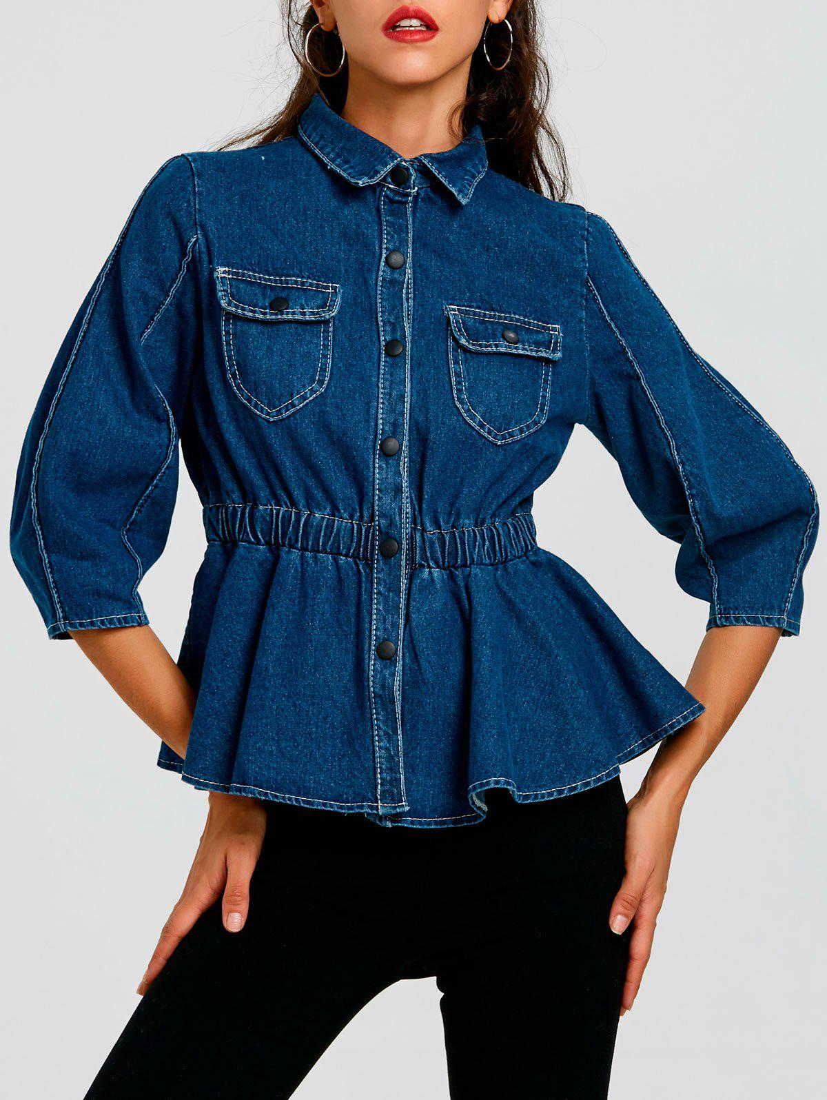 Discount High Waist Button Up Denim Jacket