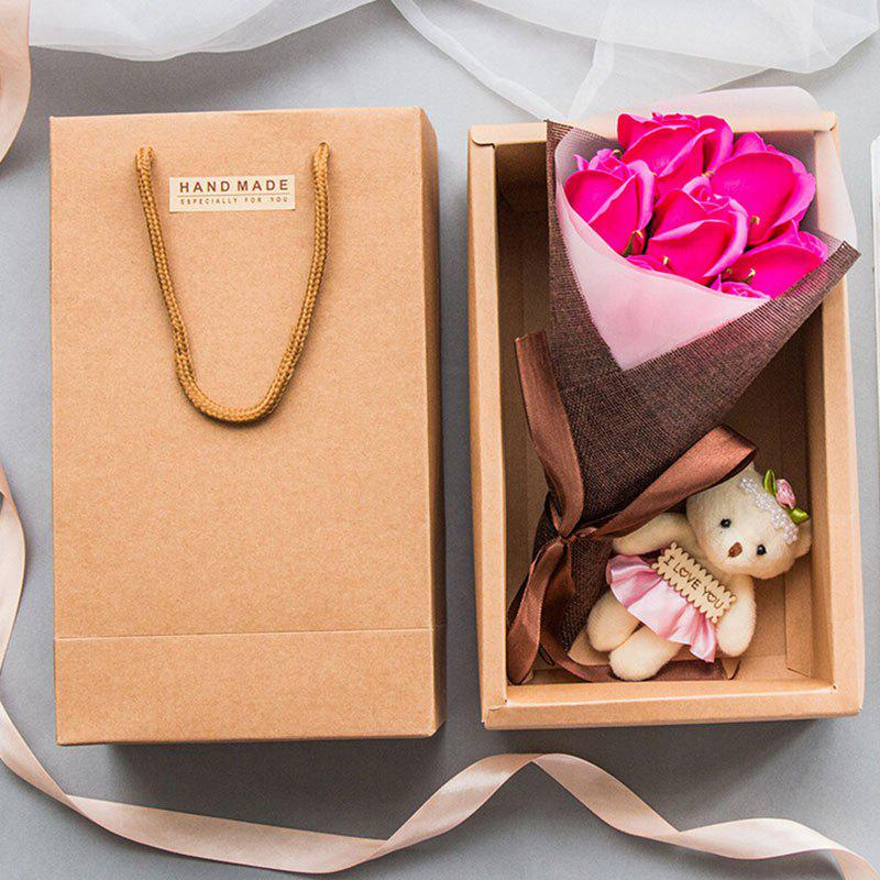 Latest Artificial Roses Handmade Soap Valentine's Day Gift with Little Bear