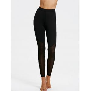 Sheer Mesh Panel Skinny Leggings -