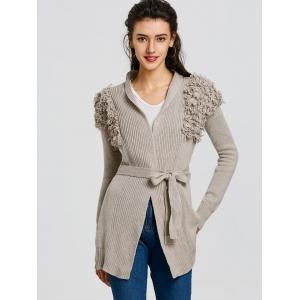 Wrap Collarless Ribbed Cardigan -