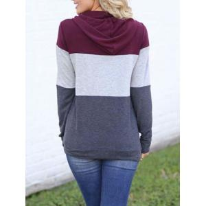 Drawstring Color Lump Pullover Hoodie -