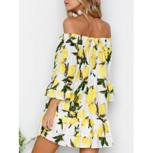 Off The Shoulder Bell Sleeve Layered Printed Dress -