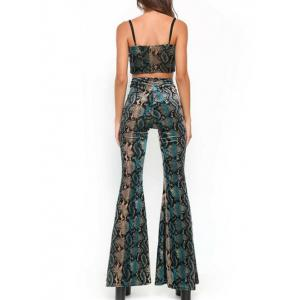 Faux Snakeskin Spaghetti Strap Crop Top and Flare Pants Suit -