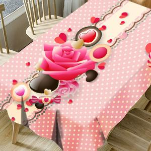Flower Candy Heart Polka Dot Print Waterproof Table Cloth -