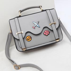 Rivets Double Sides Scallop Patchwork Crossbody Bag -