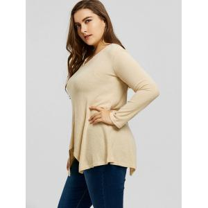 Ribbed Handkerchief Plus Size Sweater -