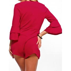 Surplice Neck Flare Sleeve Romper -