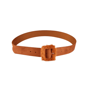 Vintage Furry Buckle Embellished Faux Leather Waist Belt -
