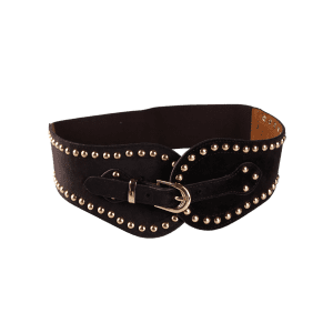 Vintage Metal Buckle Rivets Decoration Elastic Wide Waist Belt -