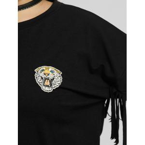 Плюс Размер рукава Fringe Tiger Patch Толстовка -