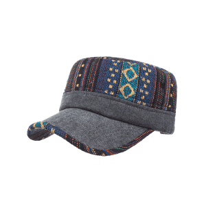 Vintage Ethnic Style Pattern Flat Top Military Hat -