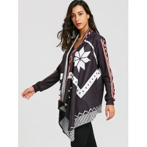 Printed Open Front Asymmetrical Cardigan -