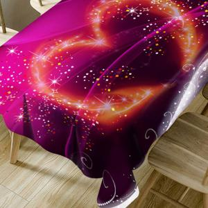 Valentine's Day Sparkling Heart Printed Waterproof Table Cloth -