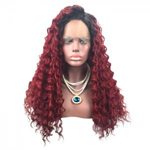Long Side Parting Fluffy Deep Wave Colormix Lace Front Synthetic Wig -