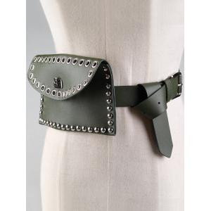 Vintage Mini Rivet Bag Embellished Faux Leather Belt -