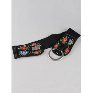 Vintage Round Buckle Embellished Floral Embroidery Wide Waist Belt -